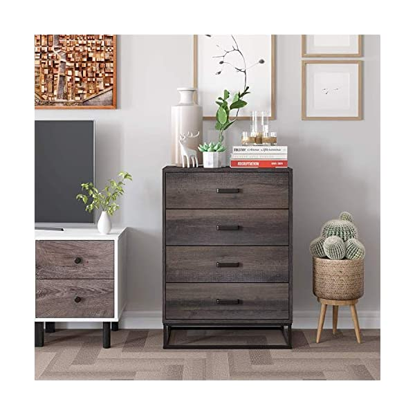 HOMECHO Chest of Drawers, Industrial Tall Dresser Chest with 4 Drawers, Wood Drawer Dressers for Bedroom, Living Room, Hallway, Closets, Easy Assembly, Dark Brown