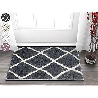 Clara Grey & White Modern Beni Ourain Microfiber 2x3 (20  x 31 ) Area Rug Doormat Accent SmallVintage Moroccan Trellis Tribal Carpet