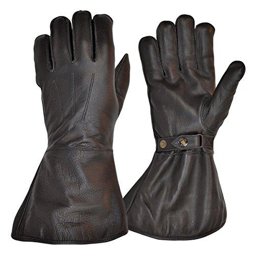 Goldtop Schwarz Leder Vlies gefüttert Motorradversand Reiter Stulpen & Pilot Handschuhe