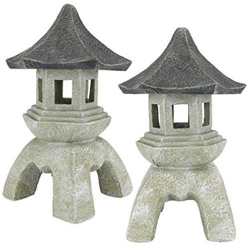 Design Toscano Asian Decor Pagoda Lantern Outdoor Statue, Large 17 Inch, Set of Two, Polyresin, Two Tone Stone
