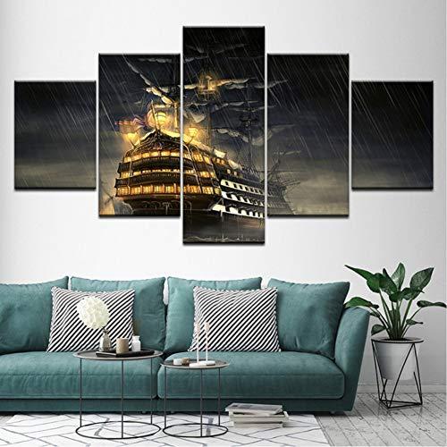 cmhai (geen frame) Canvas Schilderij Reusachtig schip boven water Op regenachtige dag 5 stuks muurkunst schilderij Modulaire behang Posters Home Decor