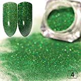 HFDJTAFSGradient Color Shiny Nail Polish Set Powder Shiny Nail Art Chrome Pigment Silver