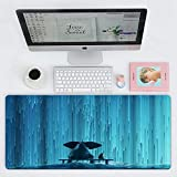 Dkzguq Tappetino Mouse Gaming,Animal Elephant And Dog Watching Waterfall Teal Blue, Tastiera Tastiera Impermeabile Mouse Pad, per Desktop, Laptop