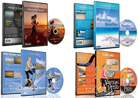 4 Disc Set Combo Pack Beach Collection Virtual Run and Walking DVD Box Set for Treadmill Elliptical product image