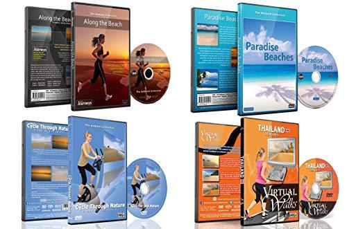 4 Disc Set Kombi Pack - Strand Kollektion Virtuelle Lauf und Walking DVD Box Set für Laufband, Elliptical Trainer und Spinning Bike Workouts