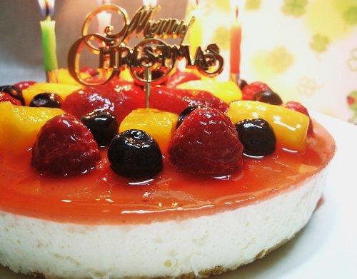 フルーツ彩りレアチーズケーキ ローソク・プレート・手紙付(誕生日ケーキ・クリスマスケーキ・プレゼント)