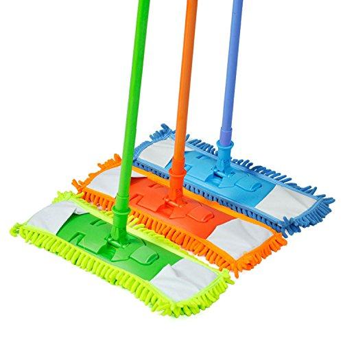 ESYN - Scopino per pavimenti in microfibra, estensibile, in legno, laminato, a secco (colore Ramdon)