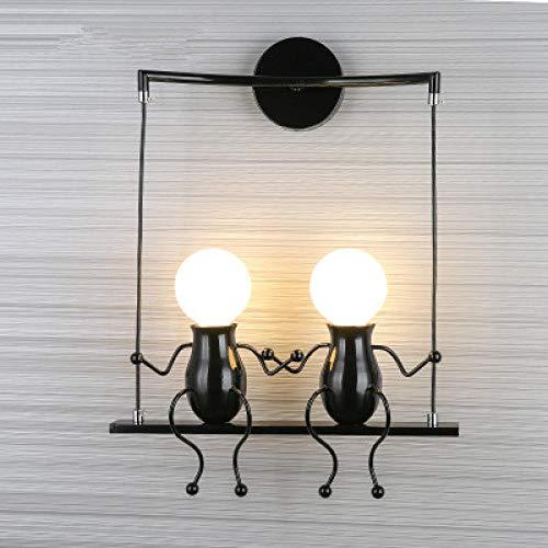 Creative LED wandlamp dwerg swing slaapkamer bedlampje bedlampje kleine jongens Art Deco wandlamp - two_black