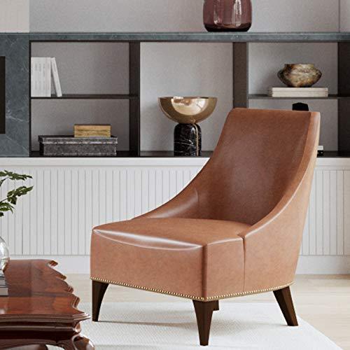 CHITA Modern Accent Chair, Faux Leather Living Room Club Chair, Brown