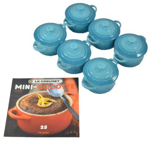 Le Creuset Stoneware 6-Piece 8oz Mini Cocotte Set with Cookbook (Marseille Blue)