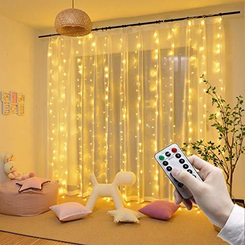 Lámpara, luces LED 3M LED luces de hadas guirnalda cortina lámpara de control remoto USB cadena de luces de Año Nuevo decoraciones de Navidad para el hogar, dormitorio, ventana, luces de hadas