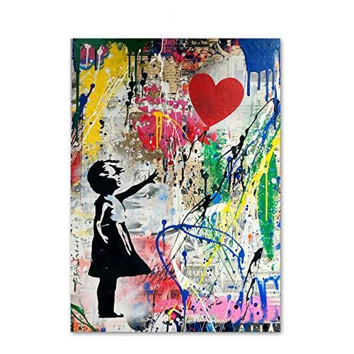 Imprimir lienzo pintura corazón globo niña abstracta
