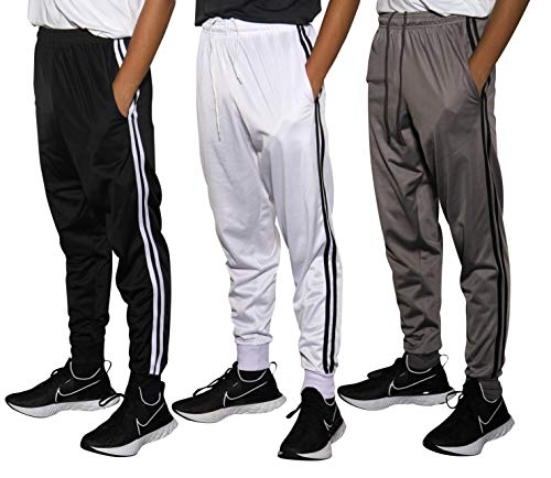 Real Essentials 3 Pack Boys Tricot Sweatpants Joggers Track Pants Athletic Workout Gym Apparel Training Fleece Tapered Slim Fit Tiro Soccer Casual,Set 3,XL (18/20)