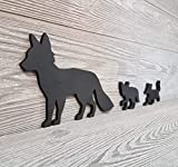 Black Fox Family of 3, Black Fox Family, Mama and Baby Foxes, Wooden Fox Silhouette, Fox Family Art, Fox Wall Art, Silhouette Wall Art