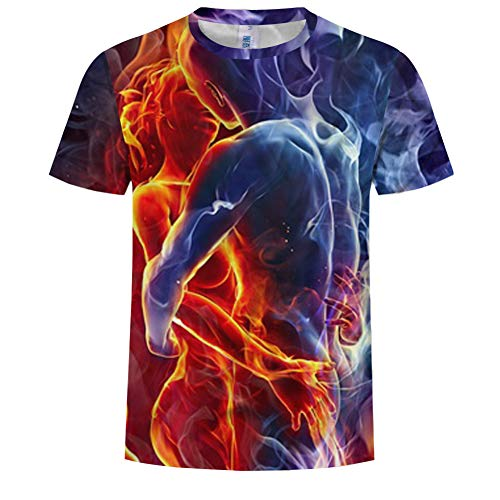 Zomer ronde hals korte mouwen, 3D Ice Fire liefde inhoud afdrukken creatief T-shirt Top, casual korte mouwen, mannen mode, voor jonge mannen