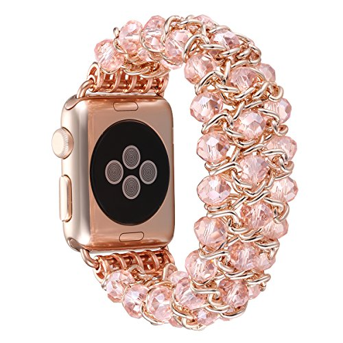 Fastgo for Apple Watch Band, Classy Retro Crystal Beaded Stretch Elastic Iwatch Band for Sereis 1, Series 2 (Pink Crystal - 42mm)