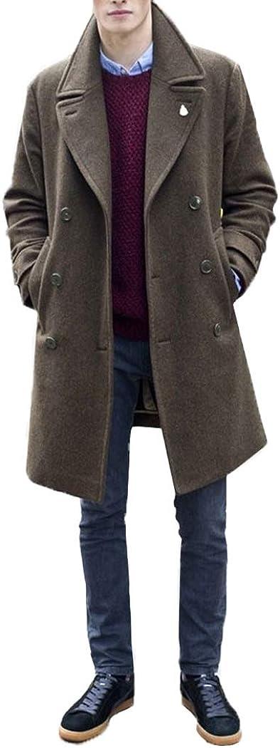 Men's Casual Peacoat Wool Blend Double Breasted Notched Lapel Regular Fit Windbreaker Jacket