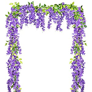 COOWAS 4pcs Artificial Flowers (Total 24Feet) Silk Wisteria Garland Hanging Vines Fake Plants Greenery for Wedding Party Outdoor Garden Office Home Kitchen Bedroom Wall Decor