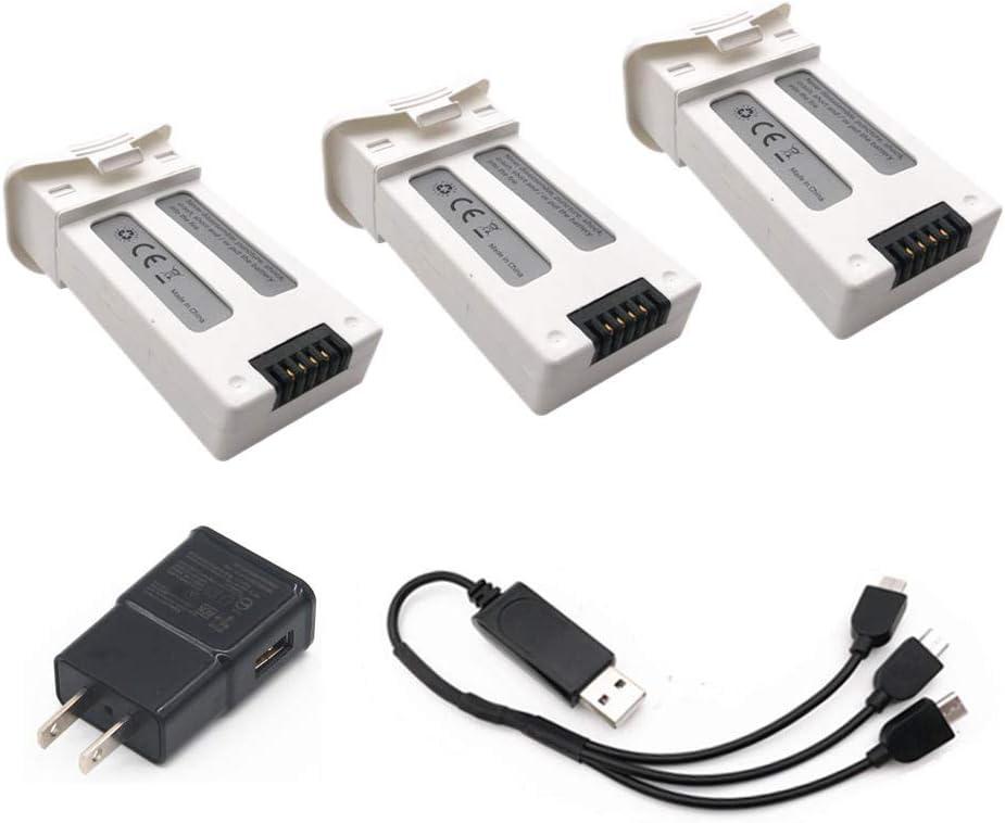 rpbll 3Pcs 3.7V 1000mAh Batterie Li-ION pour SJRC S20W T25 Quadricoptère RC Drone 903048 3.7Wh avec Chargeur USB 3-en-1 pour SJRC S20W-EU Plug 2 3in1 Eu Plug 2 3in1