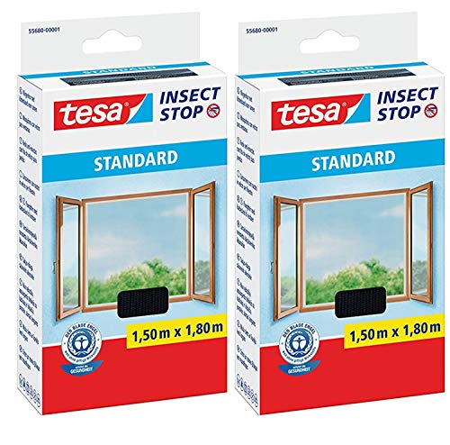 tesa Insect Stop STANDARD Fliegengitter für Fenster - Insektenschutz zuschneidbar - Mückenschutz ohne Bohren - Fliegen Netz anthrazit, 150 cm x 180 cm (2)