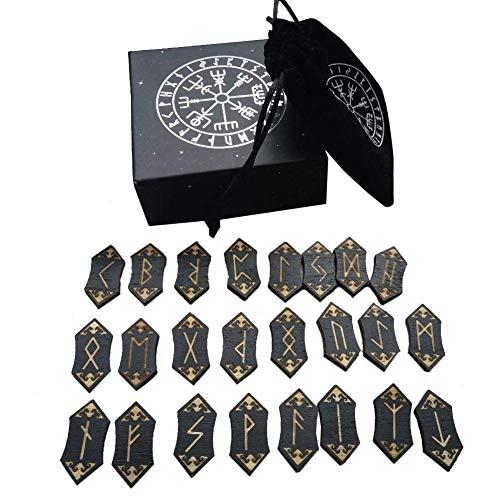 Soul hill Tarot-Karten Nordic Rune Holz Set Meditation Divination Runensteine Karten-Set mit Aufbewahrungstasche for Anfänger zcaqtajro