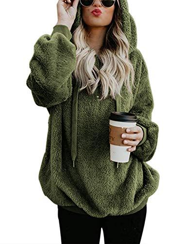 Romanstii Sudaderas de forro polar para mujer, estilo casual, doble peludo, con capucha, color sólido, cálido, elegante, con cremallera de 1/4, con bolsillos.