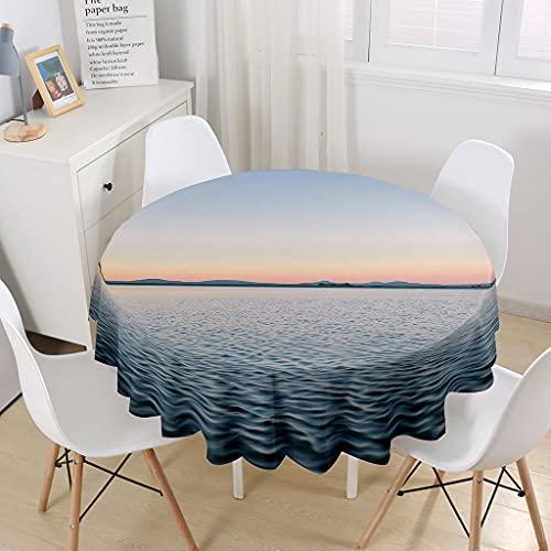 Himlaya Runde Tischdecke Abwaschbar, Strandlandschaft Home Tischdecken Wasserdicht Pflegeleicht Abwischbar Schmutzabweisend Tischtuch für Küche Tischdekoration Garten Outdoor (Meerwasser,150cm)