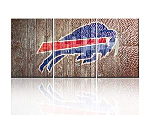 Rustic Wall Art NFL Sports Buffalo Bills Paintings Canvas Posters American Football Picture for Bedroom HD Printed House Decor Textured Blue Artwork Framed Stretched Ready to Hang( 60''W x 28''H)