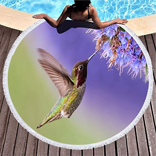 """Bird Beach Towel,Outdoors Pool Soft Breathable for Hiking and Camping High Absorption & Portable, Lightweight,Anna's Hummingbird in Flight with Purple Flower Image,60"""""""