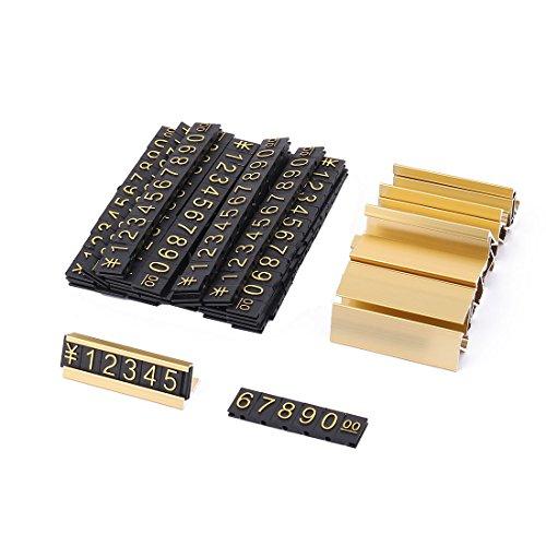 sourcing map 19 Gruppen Gold-Ton Metall, arabische Ziffern zusammen Preisschilder de