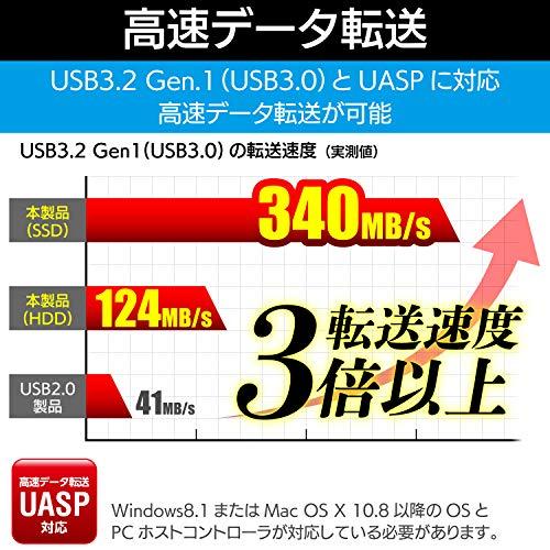『ロジテック HDD SSDケース 2.5インチ USB3.2 Gen1 ブラック LGB-PBSU3』の4枚目の画像