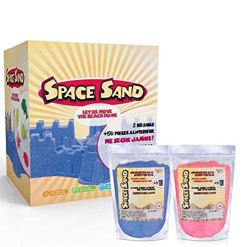 Leo & Emma Space Sand 1.8kg Set 50tlg. Formen Zahlen Buchstaben Burg Modellierwerkzeug Modellierwanne, kinetischer magischer Sand, viele Farben, TÜV getestet, Modell 2020 (0.9kg rosa und 0.9kg blau)