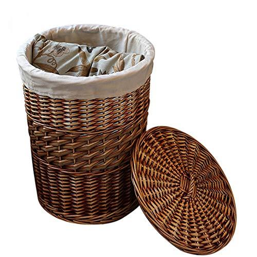 Cesta De Almacenamiento Use una cesta de mimbre hecha a mano grande de mimbre tejida for decorar la caja de almacenamiento en el hogar cesta de tejido cesta con tapa Hecho a mano armadura de la hierba