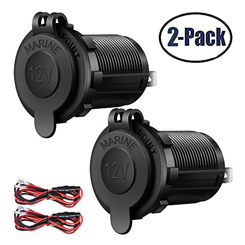 2 Pack Cigarette Lighter Socket Car Marine Motorcycle ATV RV Lighter Socket Power Outlet Socket Receptacle 12V Waterproof Plug by ZHSMS