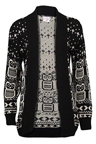 Forever Women's Long Sleeves Owl Print Knitted Cardigan (ML-10/12, Black)