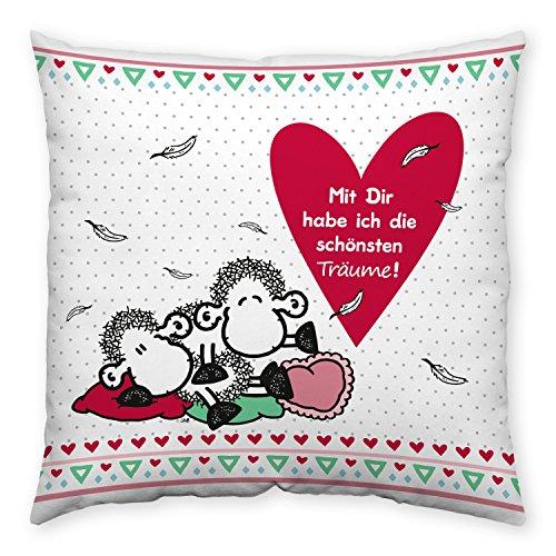 sheepworld 43841 Kissen mit Spruch mit Dir habe Ich Die schönsten Träume, Geschenk-Kissen, 40 cm x 40 cm, Mehrfarbig