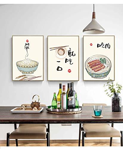 RLJHG Estilo Chino JaponéS Comida Lienzo Pintura Gatos Citas Poster Impresiones Cocina Oriental Arte De La Pared Cuadros Hogar Restaurante Decoracion De La Pared 40x50cmx3 Sin Marco