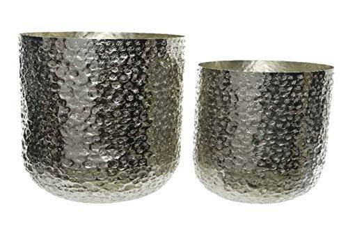 Pflanztopf Blumentopf Übertopf Vase Aluminium Silber gehämmert 2er Set