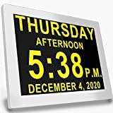 Digital Alarm Calendar Day Clock, 16 Alarm Reminders Options, 8' Large Screen Display, AM/PM Function, for Impaired Vision, Aged Seniors, Dementia, Desk Wall Mounted