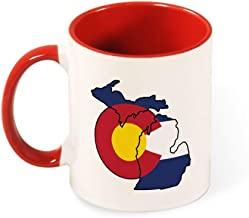 Beautiful Color Mug Inside And Handle Michigan Colorado Funny Pride Flag tea cup coffee cup red-style1