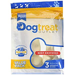 Large Sized Rawhides for Dogs, Rawhide Dog Bones are Made from Pure 100% Cattle. Long Lasting Dog Chew Designed for Aggressive Chewers Large Dogs -Dog Treat Outlet-