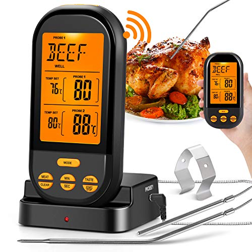 MZTDYTL Wireless Meat Thermometer for Grilling,Instant Read Digital Cooking Thermometer with Dual...