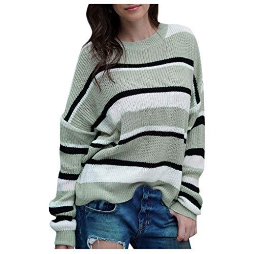 L9WEI@Jersey Suéteres de Punto a Rayas para Mujer Suéteres de Cuello Redondo Suéteres de Punto de Gran tamaño Tops Otoño Invierno Casual Suéter de Manga Larga Tops