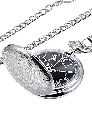 Hicarer Quartz Pocket Watch for Men with Black Dial and Chain (Silver)