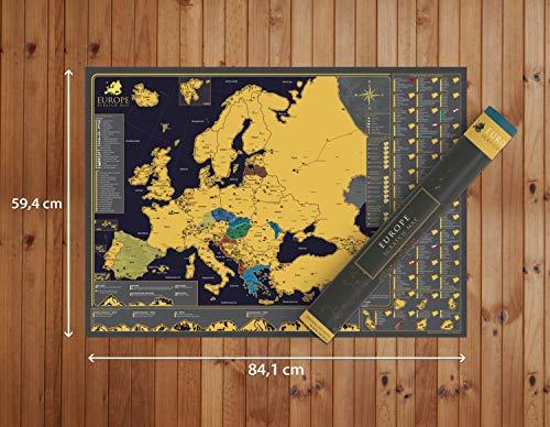 Póster de mapa de Europa para rascar – Hermoso mapa (A1) de lujo – regalo de viaje perfecto – 84.1 cm x 59.4 cm