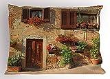 Funda de Almohada Toscana, Carril pintoresco con Flores de Arquitectura mediterránea, Ciudad Italiana, Funda de Almohada Decorativa Impresa de tamaño estándar