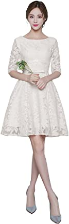 c0e807c8f459 Mypuffgirl Women's Bateau Lace Knee Length Party Homecoming Dress With 3/4  Sleeves