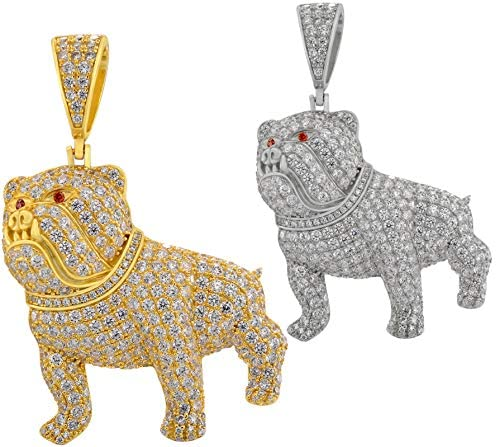 Solid 925 Sterling Silver Natural Or 14k Gold Finish Fully Iced Hip Hop Pitbull Dog Pendant product image