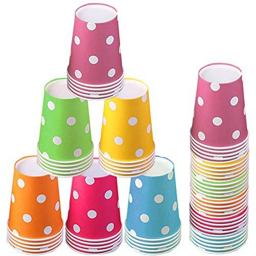 Vasos de Papel Desechables Tazas de fiesta,60 Piezas Vasos Carton de Colores Biodegradables 9 Ounces para Servir el Café, el Té, Bebidas Calientes y Frías ,Bodas , Bricolaje