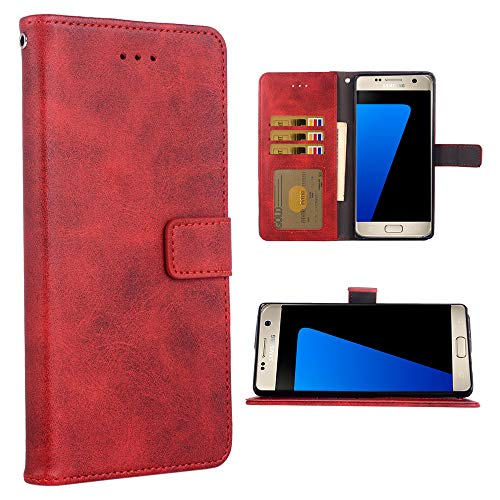 Phone Case for Samsung Galaxy S7 Edge Folio Flip Wallet Case,PU Leather Credit Card Holder Slots Full Body Protection Kickstand Protective Phone Cover for Glaxay S7edge S 7 Plus GS7 7edge Red